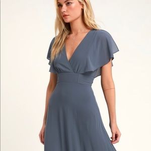 Dusty Blue flutter sleeve maxi dress
